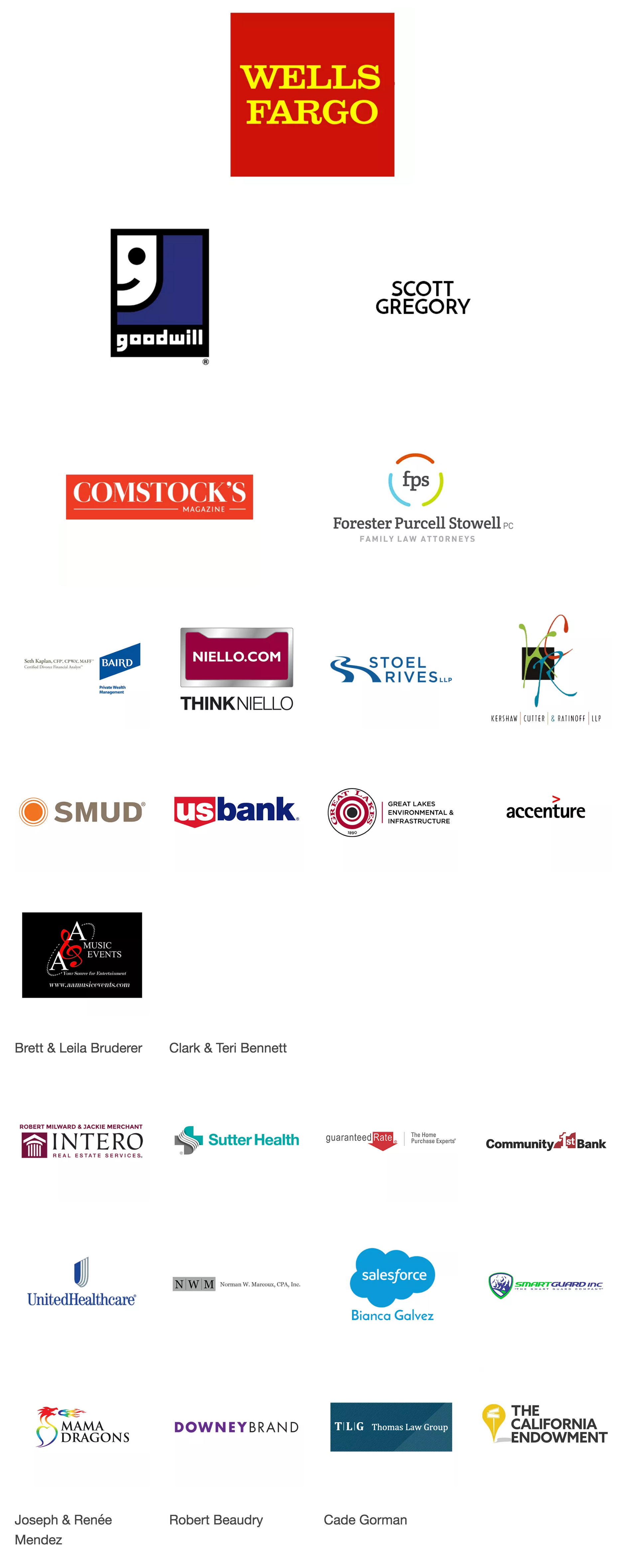 List of sponsors from Wind Youth Services' Summer Soirée